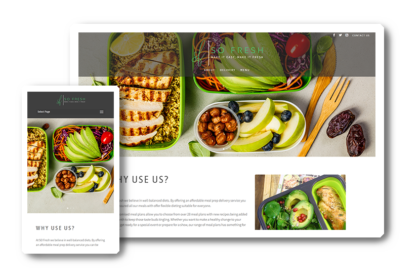 A preview of the SOFresh Co. website in desktop & mobile view